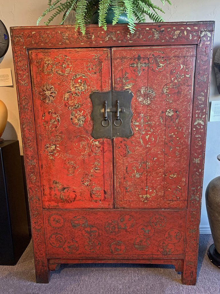 Red Lacquer Cabinet With Gilded Medallions Galleries